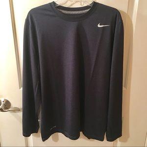 Nike Dri-Fit Long Sleeve Dark Blue T-Shirt Size L
